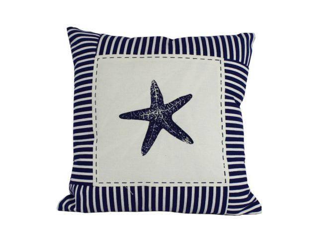 Blue Starfish Nautical Stripes Decorative Throw Pillow 16