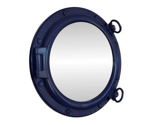 Navy Blue Decorative Ship Porthole Mirror 20