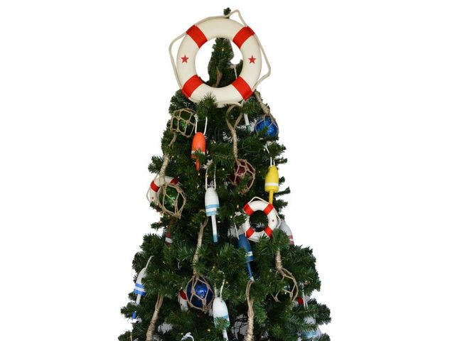 White Lifering with Red Bands Christmas Tree Topper Decoration