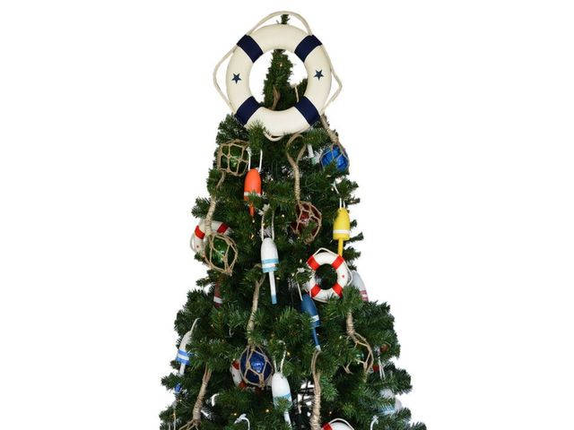 White Lifering with Blue Bands Christmas Tree Topper Decoration