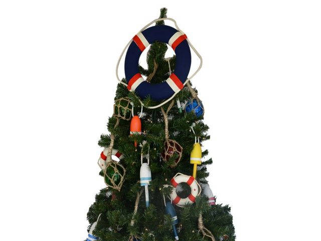 Blue Jacket Lifering Christmas Tree Topper Decoration