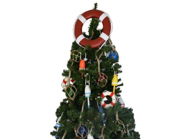 Red Lifering with White Bands Christmas Tree Topper Decoration
