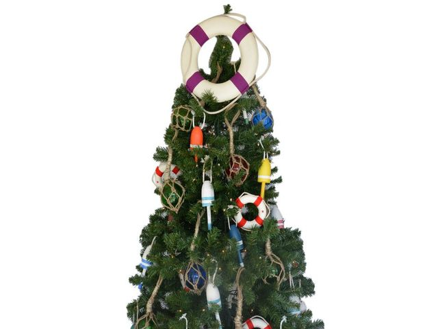 White Lifering with Purple Bands Christmas Tree Topper Decoration