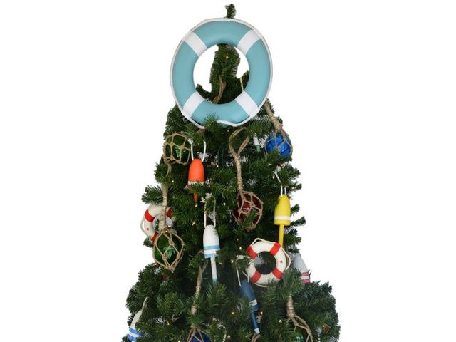 Light Blue Lifering with White Bands Christmas Tree Topper Decoration