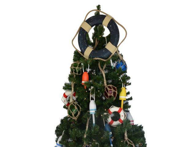 Vintage Blue Lifering Christmas Tree Topper Decoration