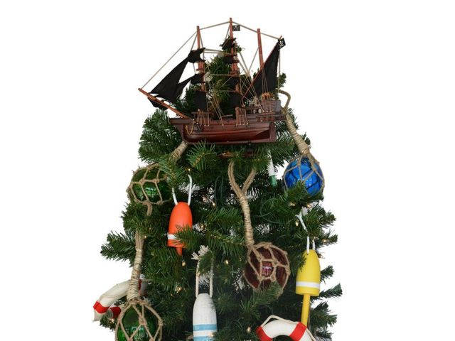 Wooden Calico Jacks The William Model Pirate Ship Christmas Tree Topper Decoration