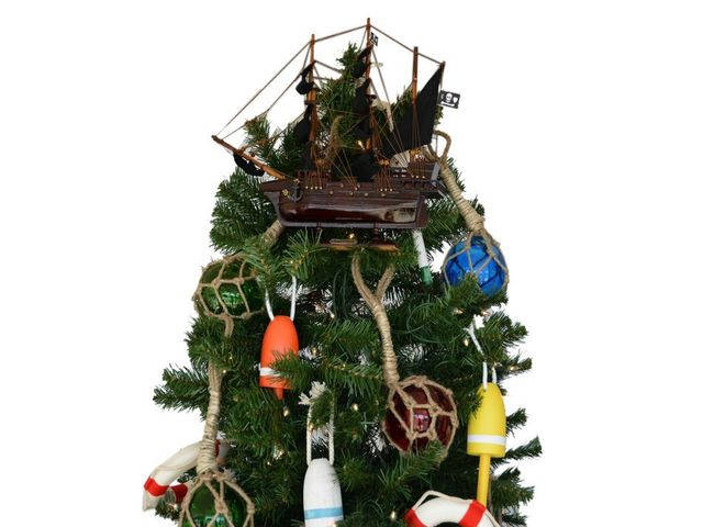 Wooden John Gows Revenge Pirate Ship Christmas Tree Topper Decoration 14