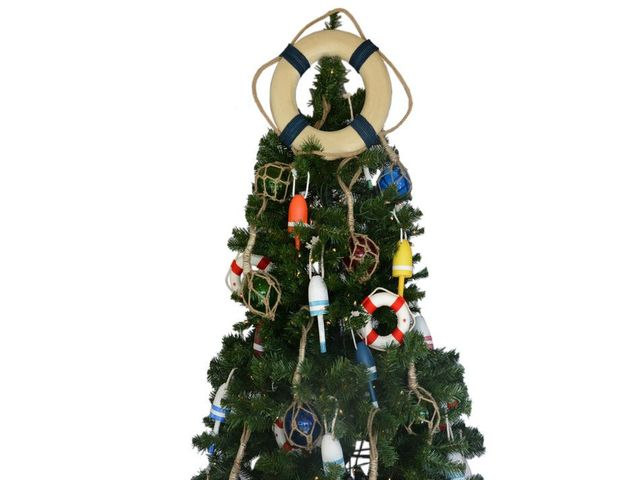 Vintage White Lifering with Blue Rope Christmas Tree Topper Decoration