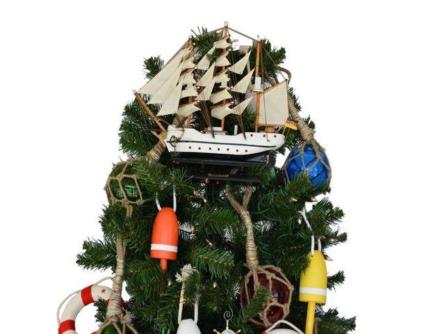 Wooden Gorch Fock Model Ship Christmas Tree Topper Decoration