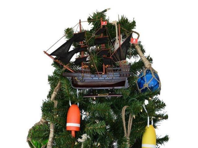 Wooden Henry Averys The Fancy Pirate Ship Christmas Tree Topper Decoration