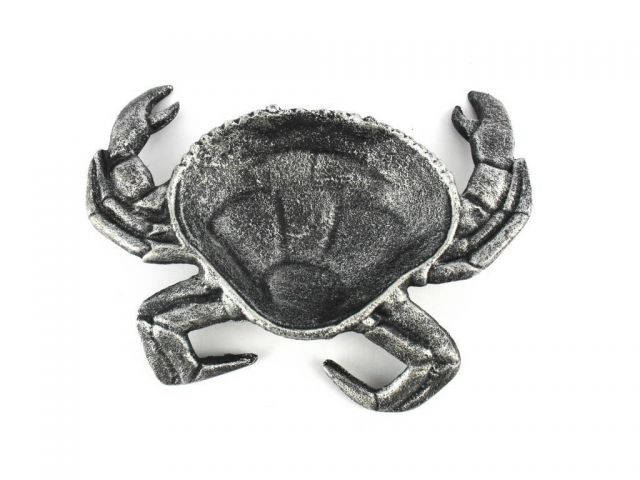 Antique Silver Cast Iron Crab Decorative Bowl 7