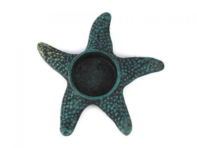 Seaworn Blue Cast Iron Starfish Decorative Tealight Holder 4.5
