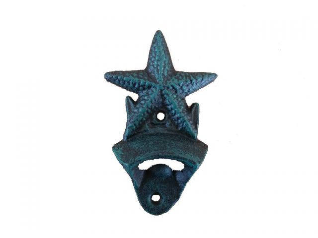Seaworn Blue Cast Iron Wall Mounted Starfish Bottle Opener 6