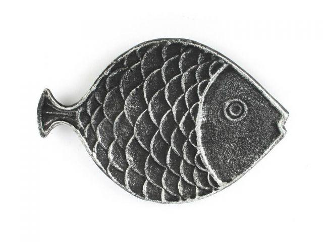 Antique Silver Cast Iron Fish Decorative Plate 8