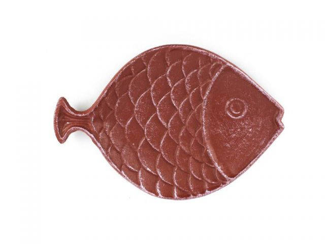 Red Whitewashed Cast Iron Fish Decorative Plate 8