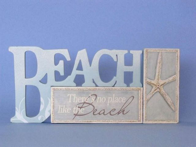 Wooden Table Top Letters Beach Sign 12