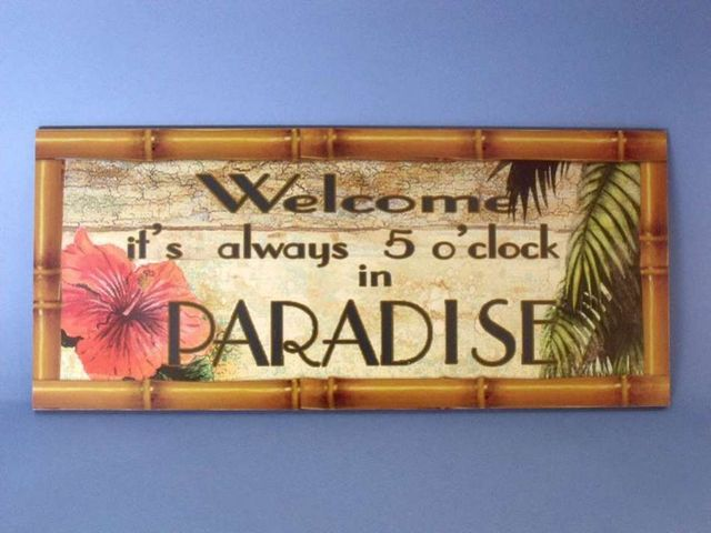 Wooden Always 5 OClock in Paradise Sign 17