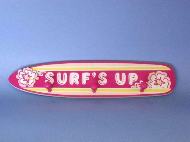 Wooden Pink Surfs Up Sign 17