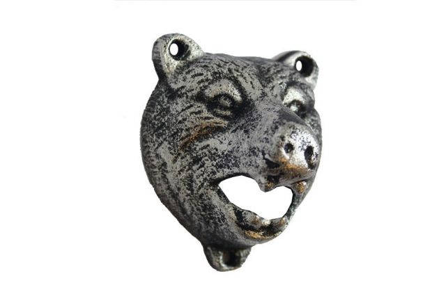 Rustic Silver Cast Iron Bear Bottle Opener 4