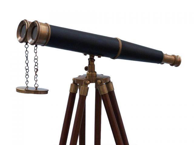 Floor Standing Admirals Antique Brass Binoculars with Leather 62