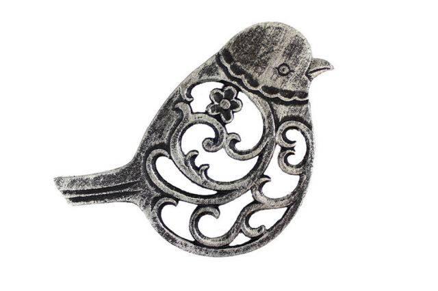 Rustic Silver Cast Iron Bird Trivet 8