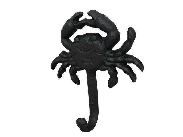 Rustic Black Cast Iron Wall Mounted Crab Hook 5