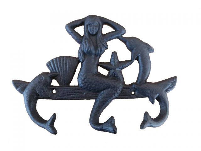 Rustic Black Cast Iron Wall Mounted Mermaid with Dolphin Hooks 9