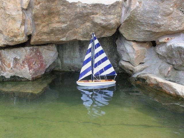 Wooden It Floats 12 - Rustic Blue Striped Floating Sailboat Model