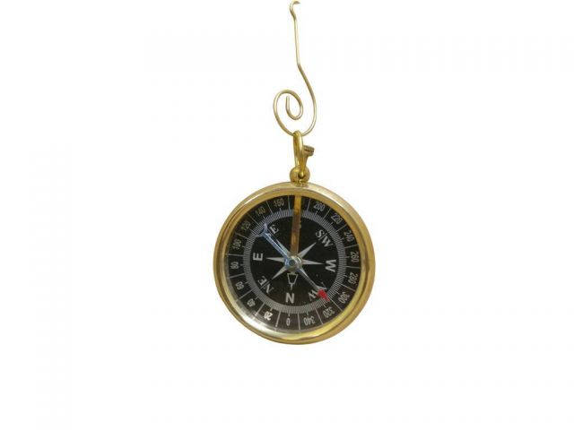 Solid Brass Beveled Black Faced Compass Christmas Ornament 5