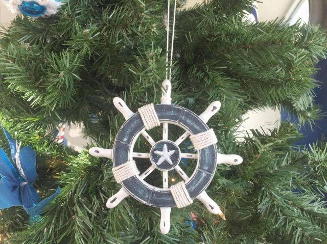 Rustic Dark Blue and White Decorative Ship Wheel With Starfish Christmas Tree Ornament 6