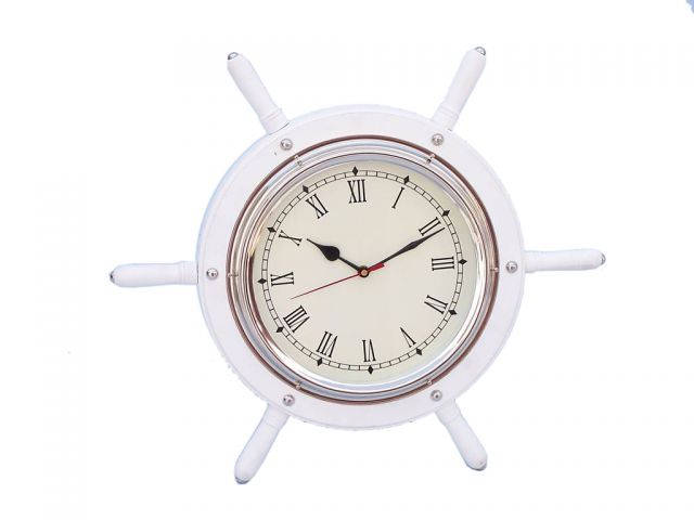 White Wood And Chrome Ship Wheel Clock 15