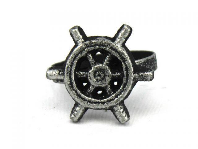 Antique Silver Cast Iron Ship Wheel Napkin Ring 2 - set of 2