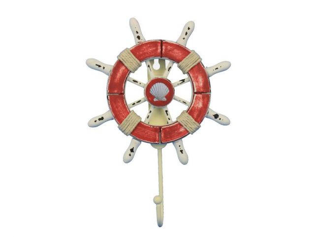 Rustic Red and White Decorative Ship Wheel With Seashell and Hook 8