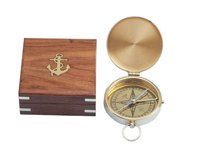 Solid Brass Gentlemens Compass w- Rosewood Box 4