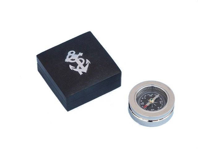Chrome Paperweight Compass with Black Rosewood Box 3