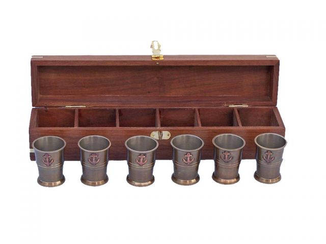 Antique Brass Anchor Shot Glasses With Rosewood Box 12 - Set of 6