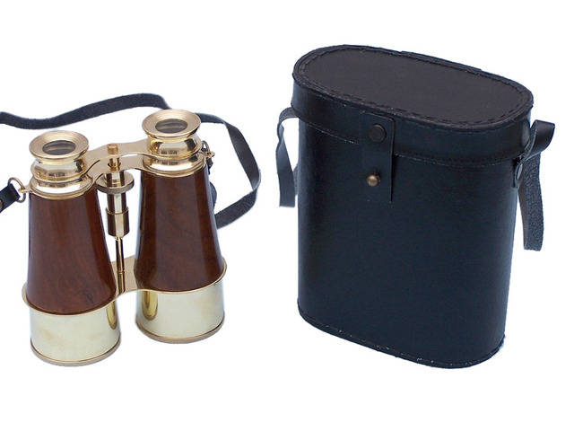 Captains Brass and Wood Binoculars with Leather Case 6