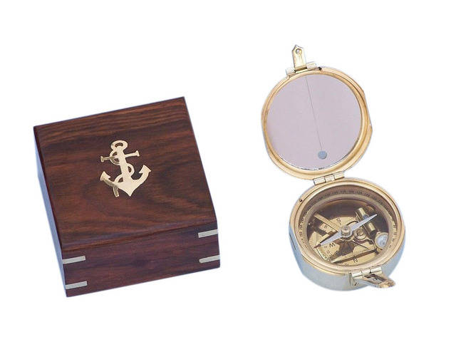 Solid Brass Brunton Pocket Transit Compass w- Rosewood Box 4