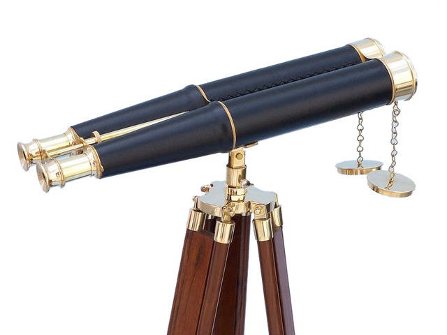 Floor Standing Admirals Brass-Leather Binoculars 62