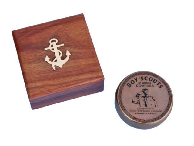 Antique Brass Boy Scout Compass w- Rosewood Box 3