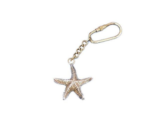 Solid Brass Starfish Key Chain 5