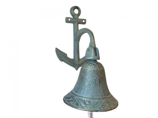 Antique Bronze Cast Iron Wall Hanging Anchor Bell 8