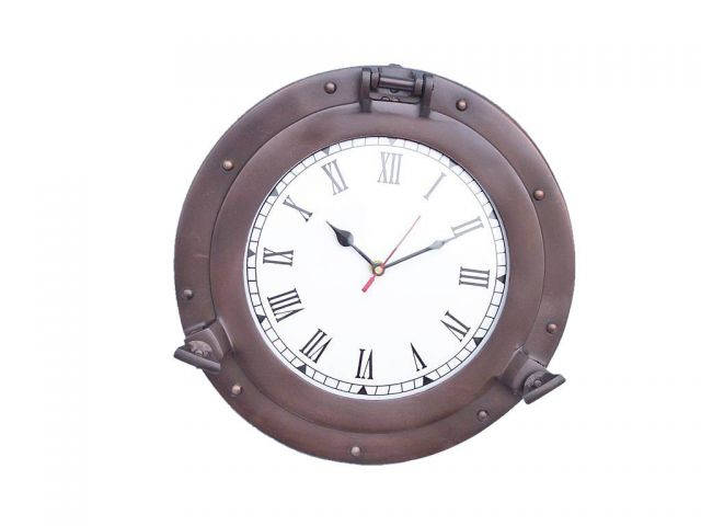Bronzed Deluxe Class Porthole Clock 15