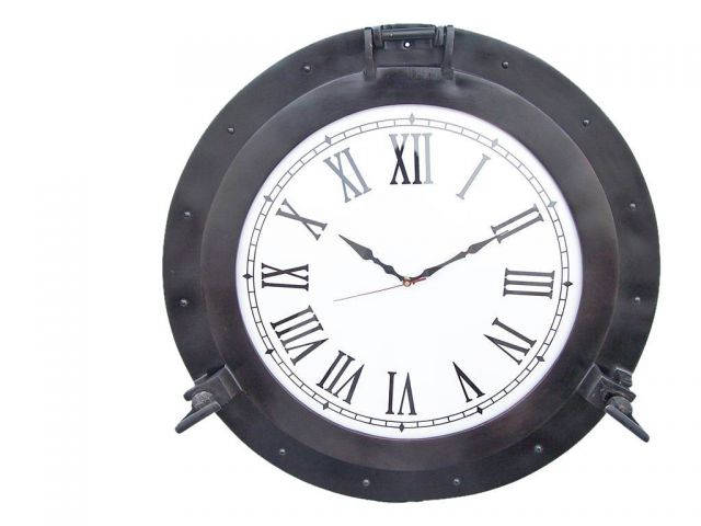 Oil Rubbed Bronze Deluxe Class Porthole Clock 24
