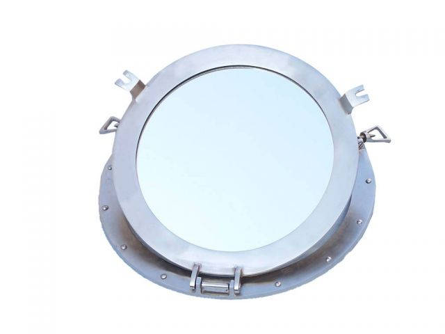 Brushed Nickel Deluxe Class Decorative Ship Porthole Window 17