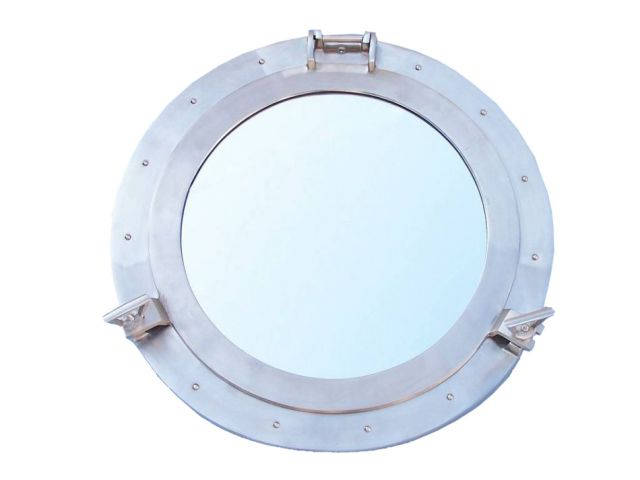 Brushed Nickel Deluxe Class Decorative Ship Porthole Mirror 24
