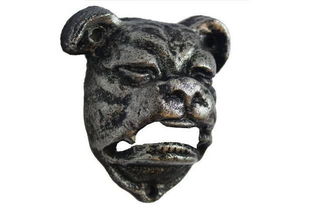 Rustic Silver Cast Iron Bulldog Bottle Opener 4