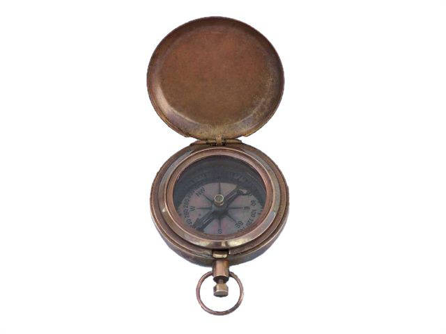 Antique Copper Ship Scouts Push Button Compass 2