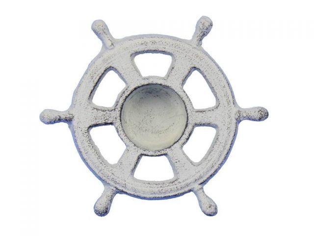 Whitewashed Cast Iron Ship Wheel Decorative Tealight Holder 5.5