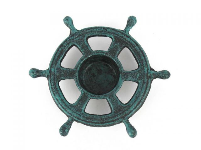 Seaworn Blue Cast Iron Ship Wheel Decorative Tealight Holder 5.5